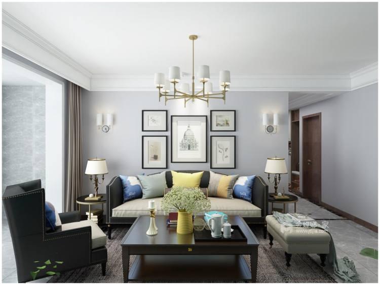 美式空间,给人无限想象-客厅效果图及设计说明