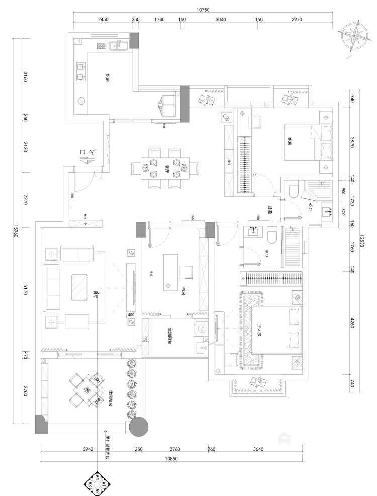 150平现代质感之家-平面布置图
