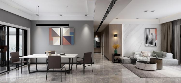 现代极简风,年轻人自由自在的艺术气息!-餐厅效果图及设计说明
