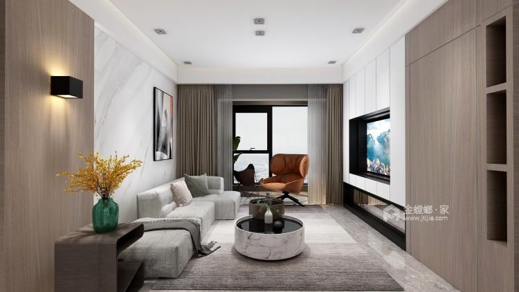现代极简风,年轻人自由自在的艺术气息!-客厅效果图及设计说明