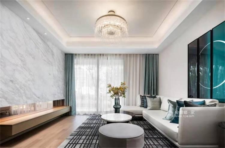 Tiffany blue:不一样的视觉冲击-客厅效果图及设计说明