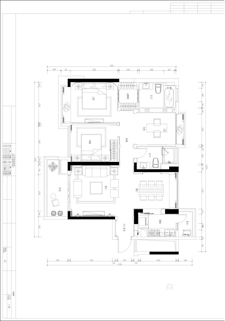 130㎡丁香河畔欧式设计图-平面设计图及设计说明