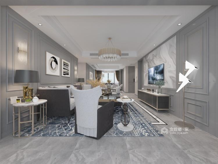 155㎡轻奢风,度假般的居住享受!-客厅效果图及设计说明