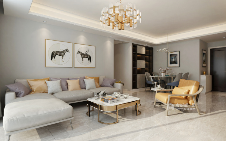 时尚、舒适、温馨的三口之家!-客厅效果图及设计说明