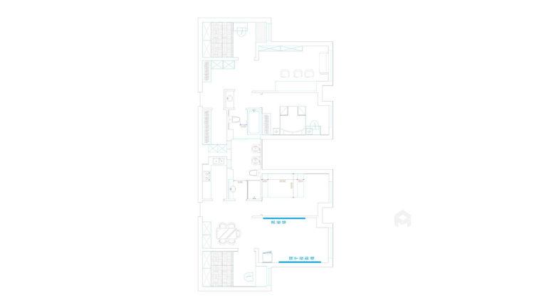 灰绿下的知性美宅-平面设计图及设计说明
