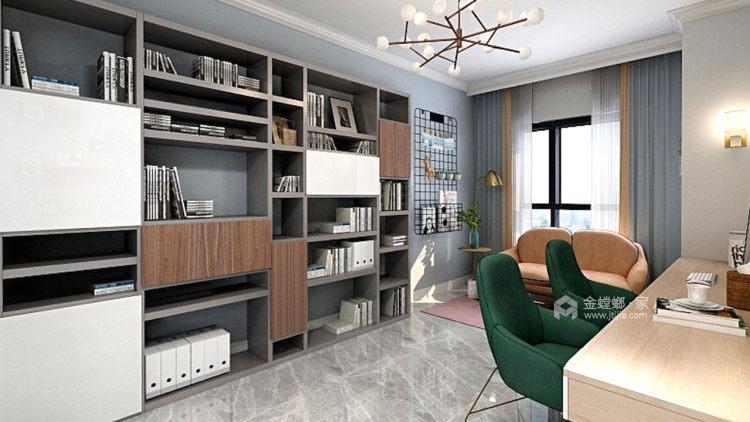 灰绿下的知性美宅-客厅效果图及设计说明