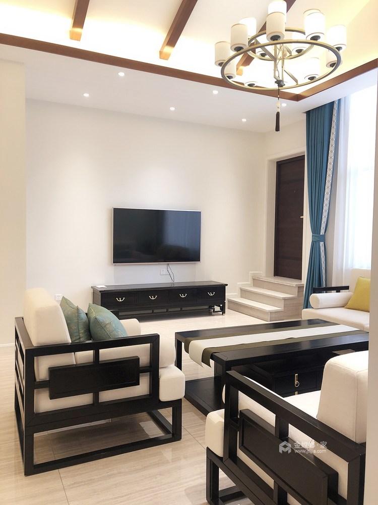 现代与传统元素的结合 打造150平新中式-客厅效果图及设计说明
