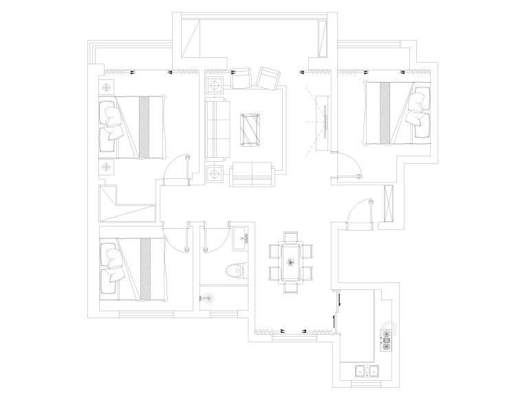 115平新中式静怡舒适之家-平面设计图及设计说明