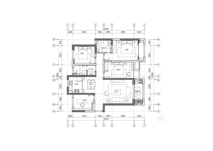 140平4室北欧之家 温情满满-平面设计图及设计说明
