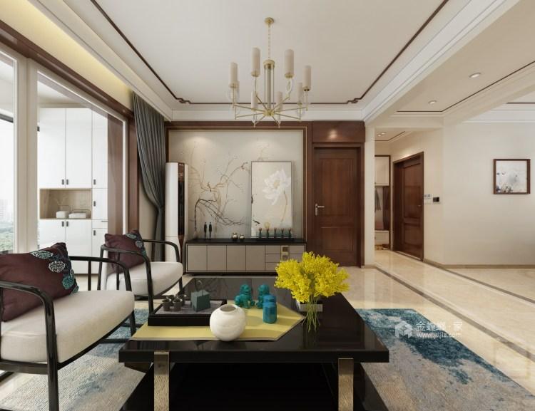 115平新中式静怡舒适之家-客厅效果图及设计说明
