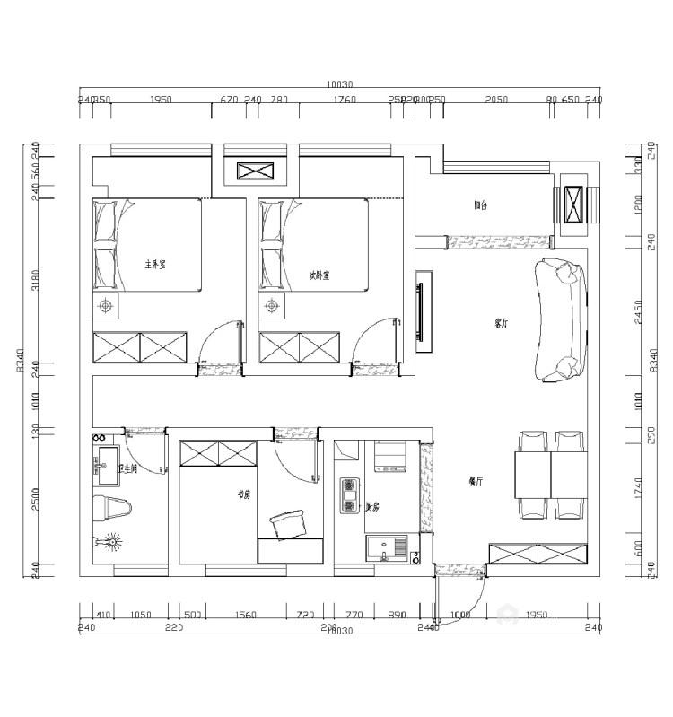 细节铸就品质,这个现代感的家太治愈!-平面设计图及设计说明