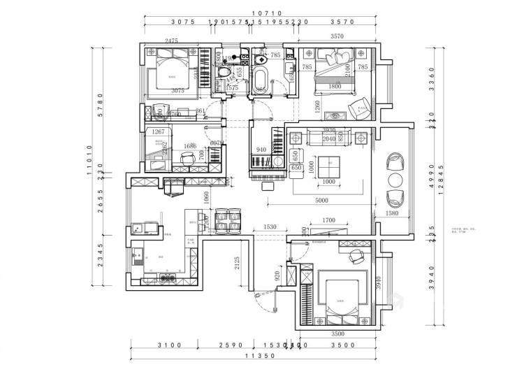 4室2厅现代简约,轻奢有格调-平面设计图及设计说明