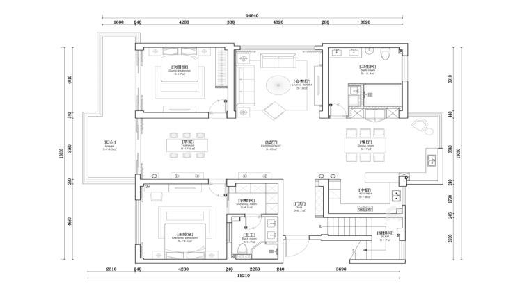 暖色调家居设计   无隔断,空间更透亮!-平面设计图及设计说明