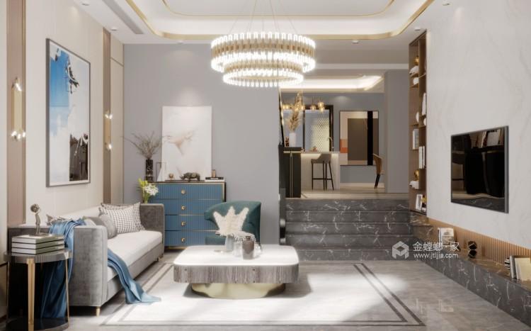 现代轻奢,低调的奢华-客厅效果图及设计说明