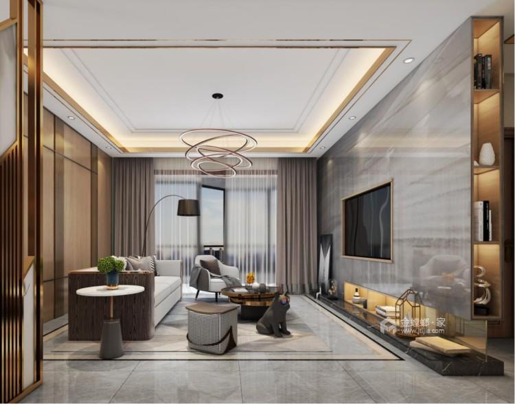 137㎡简洁大方三室,丰富的收纳让家更舒适-客厅效果图及设计说明