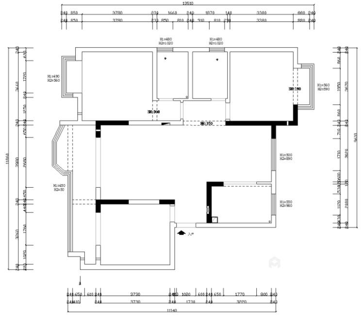 137㎡简洁大方三室,丰富的收纳让家更舒适-业主需求&原始结构图