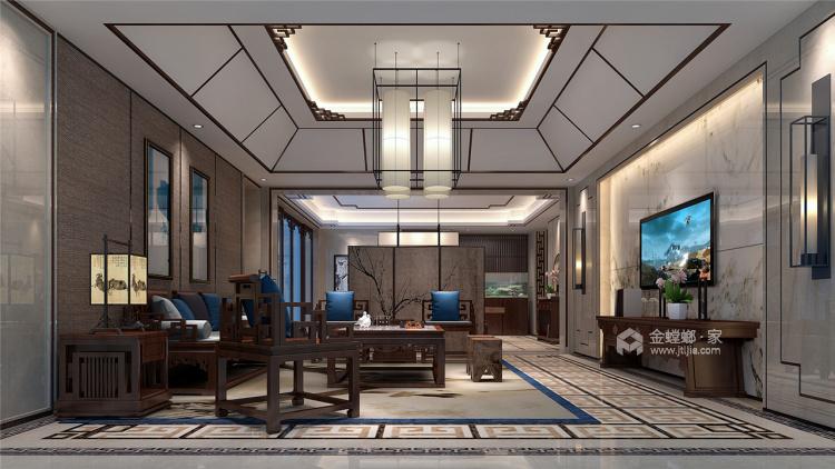 400平中式风,古朴精致的画面感!-客厅效果图及设计说明