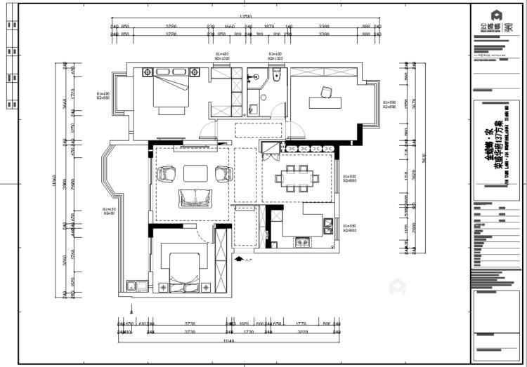 137㎡简洁大方三室,丰富的收纳让家更舒适-平面设计图及设计说明