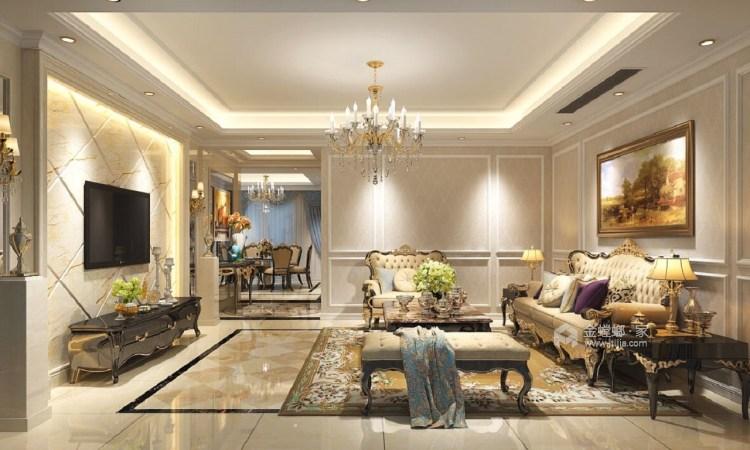 190㎡时尚欧式风 以梦为马、不负韶华-客厅效果图及设计说明