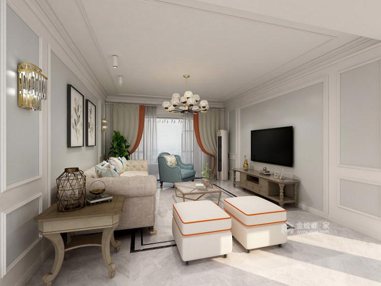 144㎡现代简约风,线条高级打造轻奢感-客厅效果图及设计说明