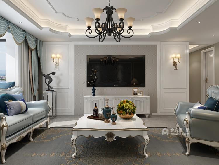 在欧式中寻找新生代的美,于忙碌中追求高品质的家-客厅效果图及设计说明