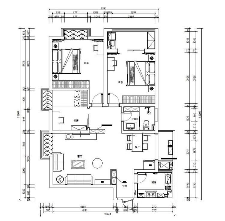 东西合壁的现代美,超舒适的生活空间!-平面设计图及设计说明