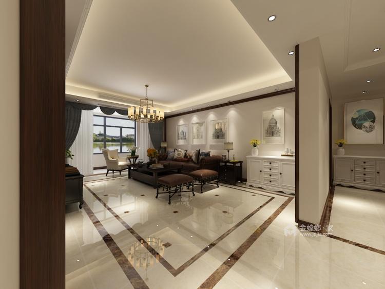 150平的三居室,这风格设计太美了!-客厅效果图及设计说明