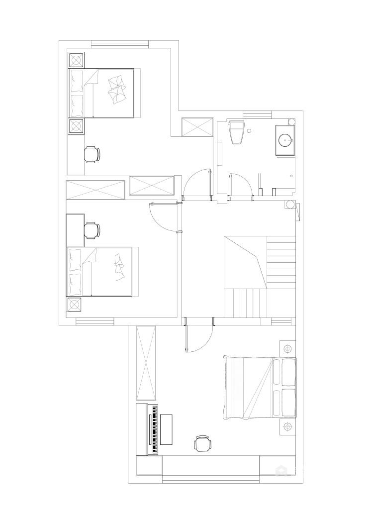 200m²欧式别墅、带你体验不一样的感觉-平面布置图