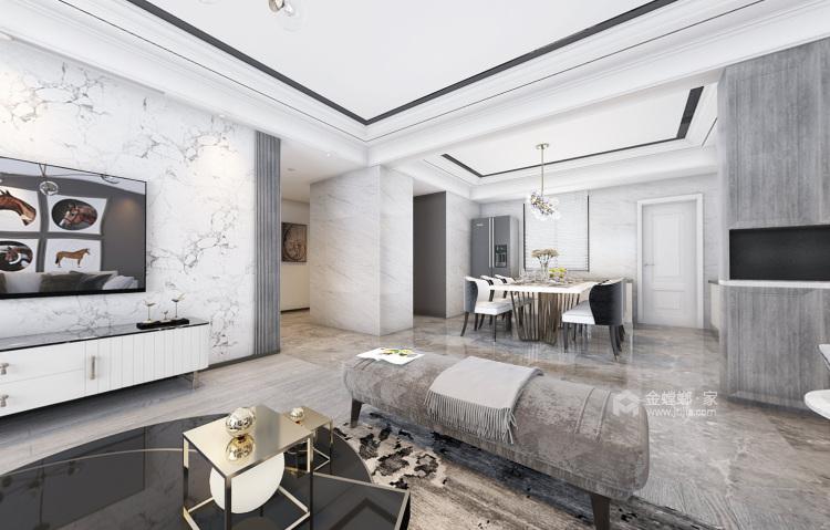 148平时尚现代两口之家-客厅效果图及设计说明