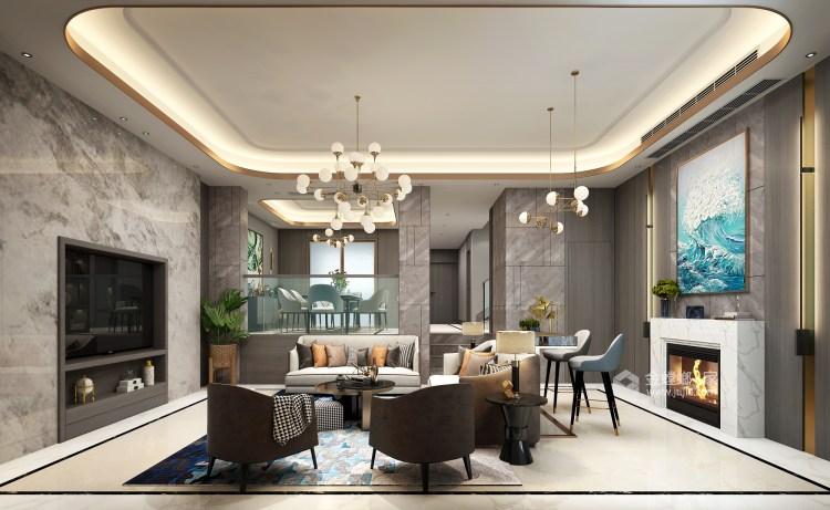 三口之家的轻奢漫时光-客厅效果图及设计说明