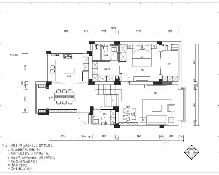 140平复式·简雅现代,让家有不一样的温馨-平面设计图及设计说明