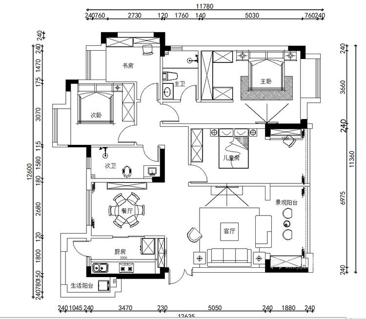 150㎡国安公馆现代风-平面设计图及设计说明