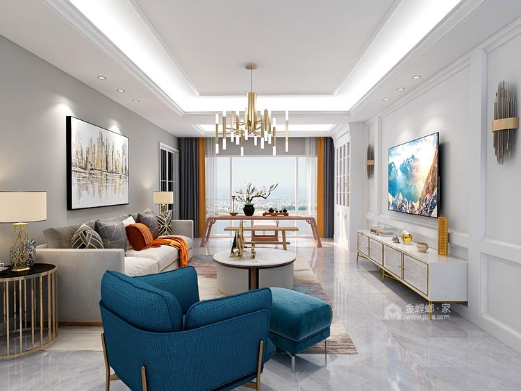 轻奢,是恰到好处的精致-客厅效果图及设计说明
