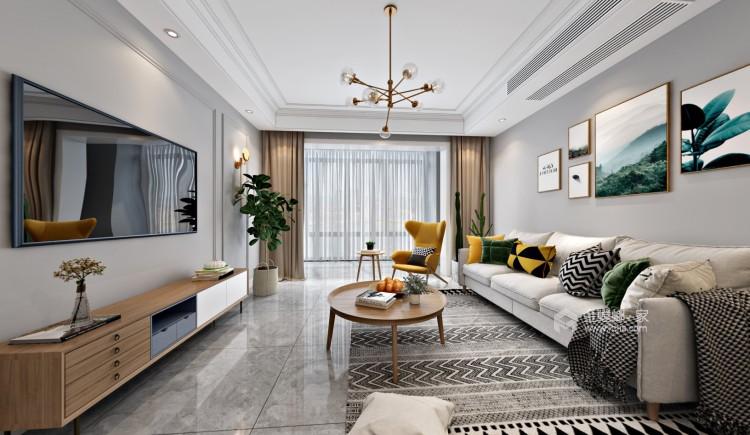 133㎡现代实力演绎生活-客厅效果图及设计说明