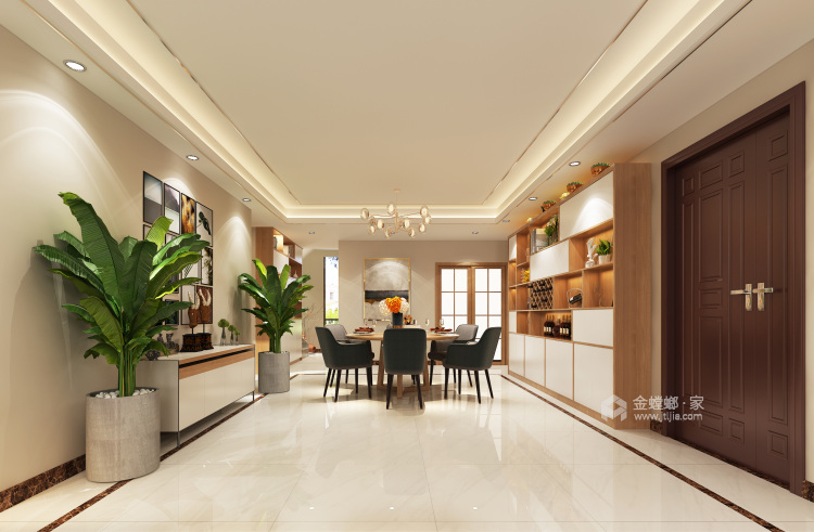 别墅新作|半山午后310㎡大平层-餐厅效果图及设计说明