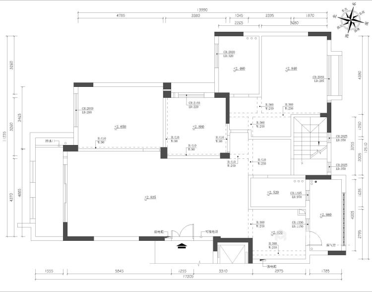 别墅新作|半山午后310㎡大平层-业主需求&原始结构图