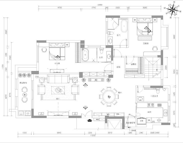 别墅新作|半山午后310㎡大平层-平面设计图及设计说明