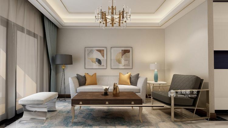 休闲浪漫的小时光——美式轻奢软装-客厅效果图及设计说明