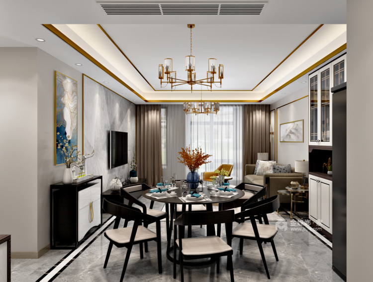 """来自时尚灰色系与金属明亮系的""""火花""""-餐厅效果图及设计说明"""