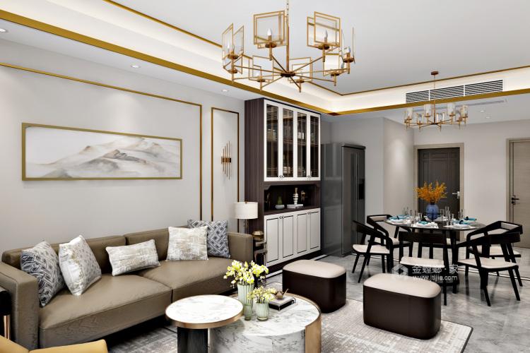 """来自时尚灰色系与金属明亮系的""""火花""""-客厅效果图及设计说明"""