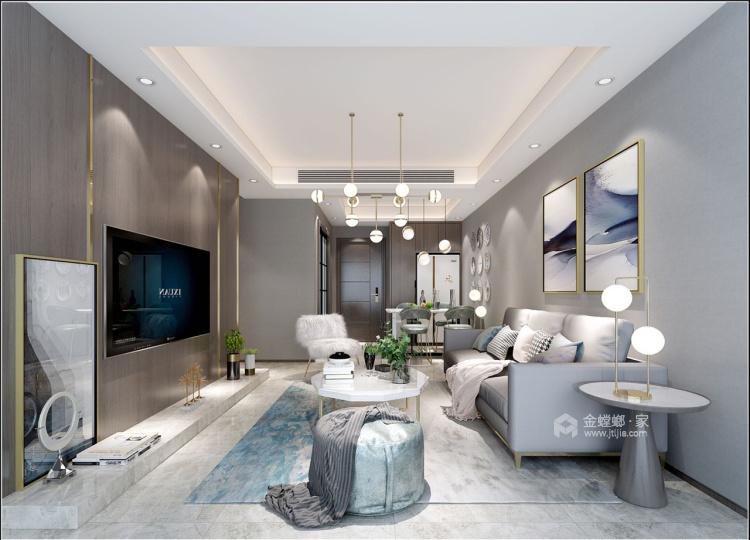 130㎡现代 | 生活原本就该这样优雅从容!-客厅效果图及设计说明