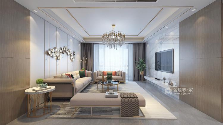 170㎡实用与时髦并存的雅奢风之家!-客厅效果图及设计说明