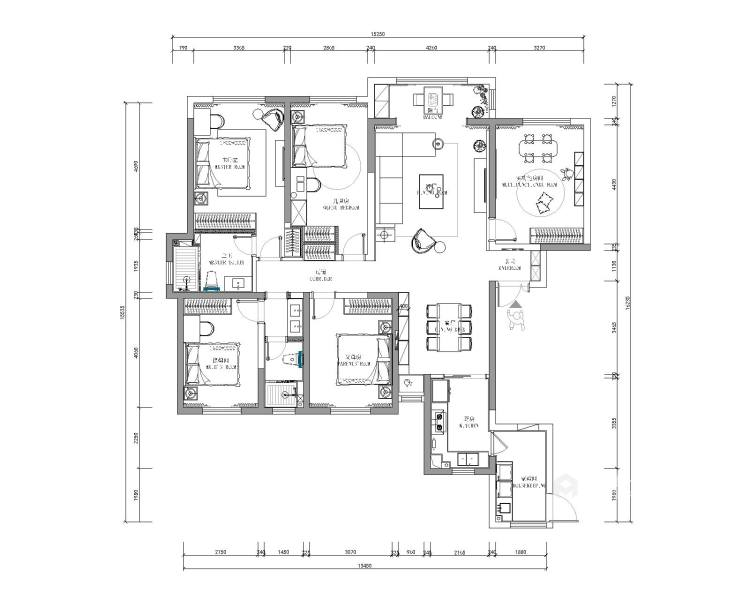 170㎡实用与时髦并存的雅奢风之家!-平面设计图及设计说明