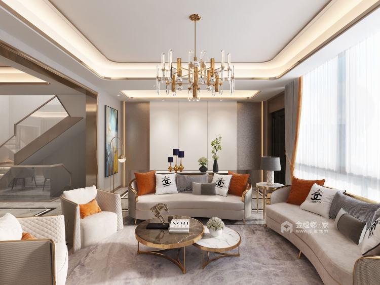 胡桃木色现代轻奢    设计规划优雅的未来生活-客厅效果图及设计说明