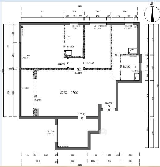 105㎡三室两厅现代简约风格-业主需求&原始结构图