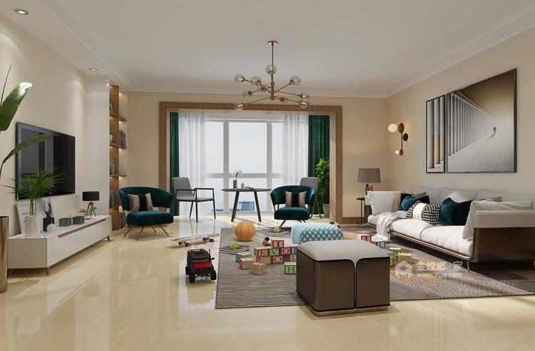 105㎡三室两厅现代简约风格-客厅效果图及设计说明