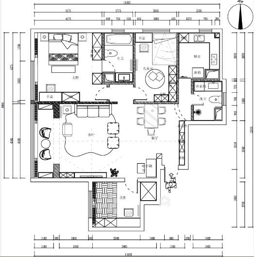 105㎡三室两厅现代简约风格-平面设计图及设计说明