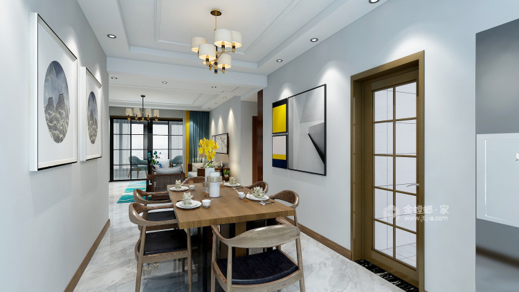 简约新中式-餐厅效果图及设计说明