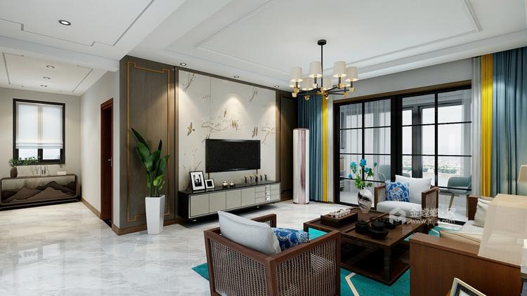 简约新中式-客厅效果图及设计说明