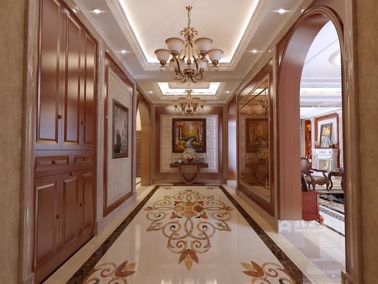 庄重大气的美式大宅-客厅效果图及设计说明